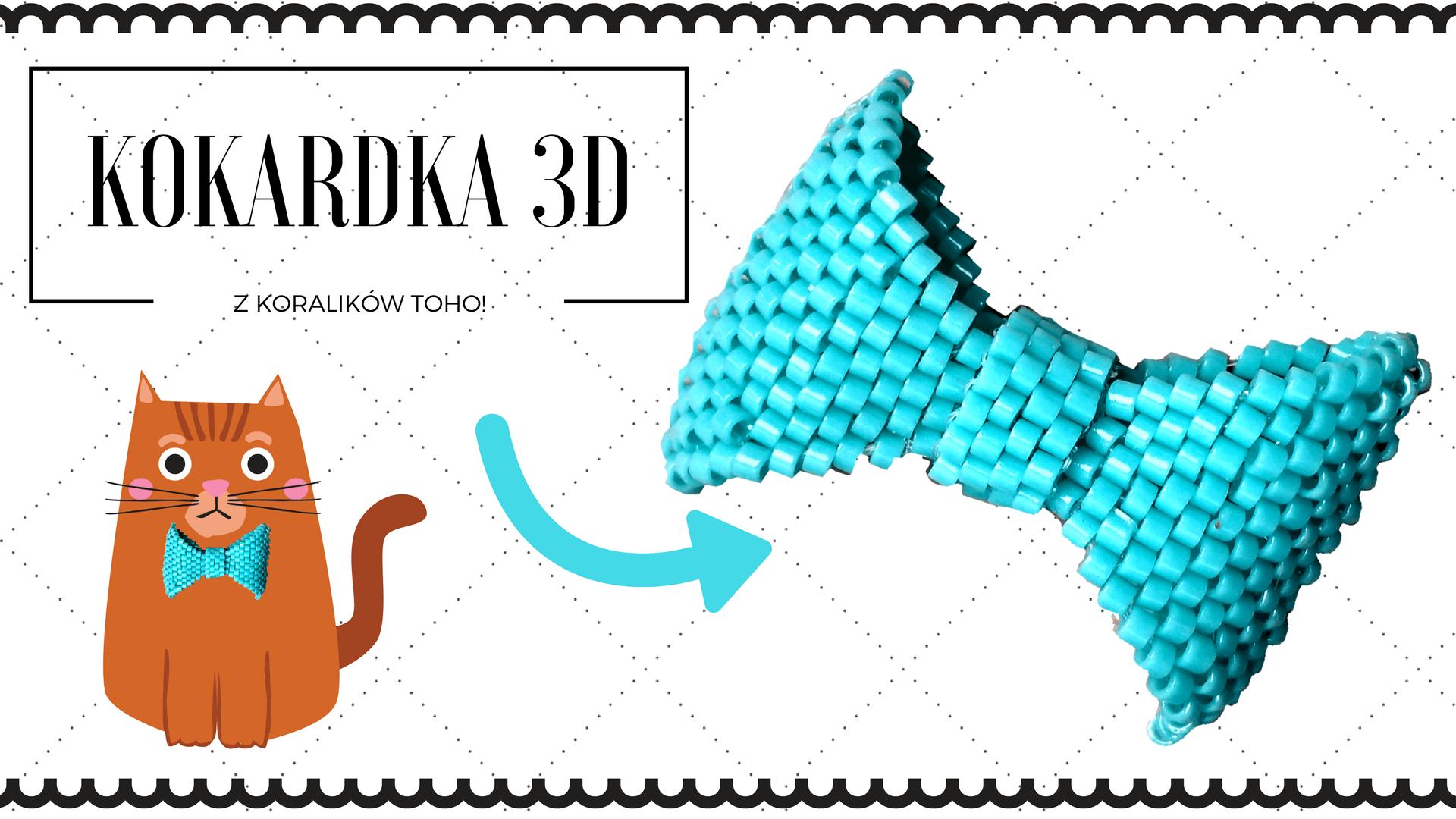 Qrkoko.pl - Kokardka 3D z koralików TOHO wypleciona ściegiem peyote